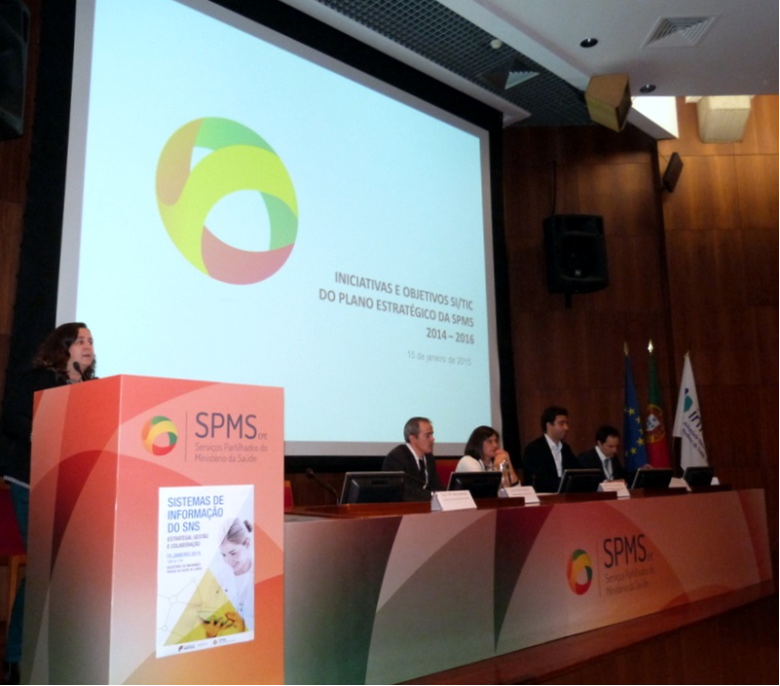 Apresentação da estratégia TIC da SPMS pelos coordenadores (da esquerda para direita) Maria João Campos, Pedro Batista, Sara Carrasqueiro, Licínio Mano e Alfredo Ramalho