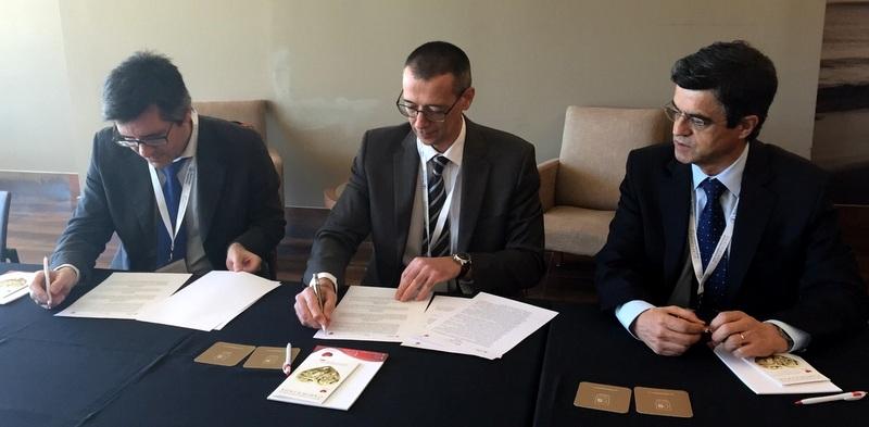 Henrique Martins, presidente da SPMS, José Silva Cardoso, presidente da SPC e Helder Pereira, presidente da APIC (da esquerda para a direita)
