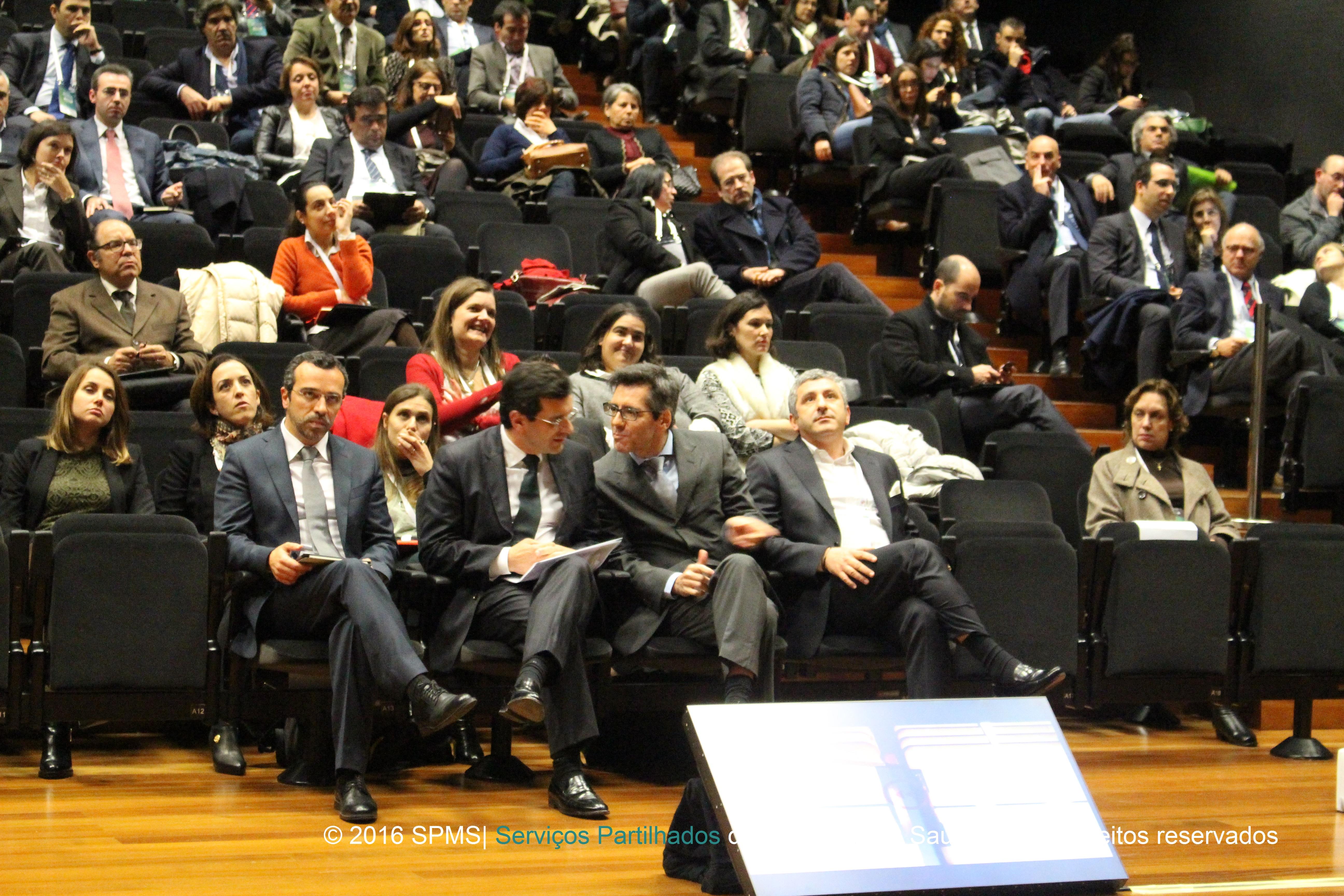Ministro da Saúde, Adalberto Campos Fernandes, Presidente da SPMS, Henrique Martins, Vogal executivo SPMS, Artur Trindade Mimoso