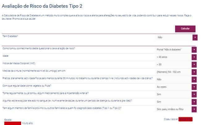 Figura 1- Área do Cidadão - Calculadora de Diabetes do Tipo 2