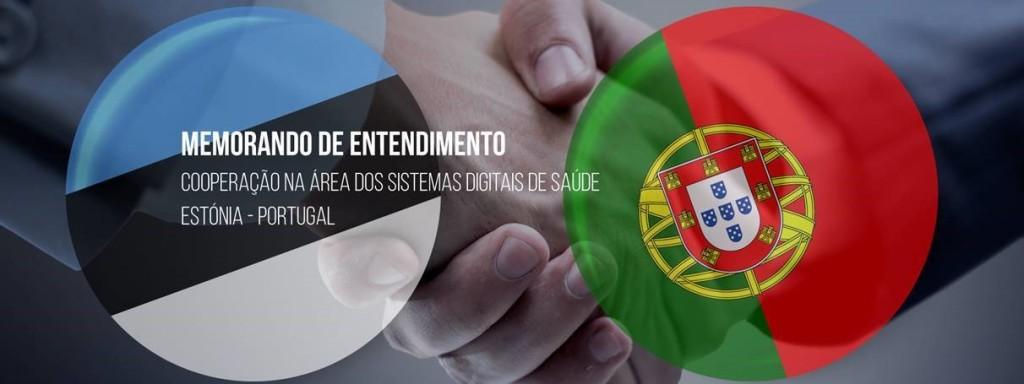 aperto de mãos, bandeiras de Portugal e da Estónia